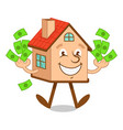 cartoon character house with money vector image vector image