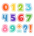 cartoon numbers colored fun alphabet for school vector image