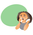 cartoon woman with rhinitis having flu allergy vector image vector image