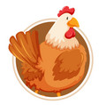 chicken on circle banner vector image vector image