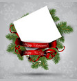 christmas decoration with fir branch and card vector image vector image