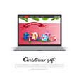 christmas gift poster with modern digital tablet vector image