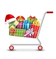 christmas sale colorful shopping cart with gift vector image