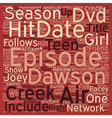 Dawson s Creek Season 6 DVD Review text background vector image vector image