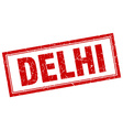 Delhi red square grunge stamp on white vector image vector image