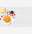 delicious hamburger sandwich and cup of coffee vector image vector image