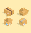 different box isometric icons isolated pack vector image vector image