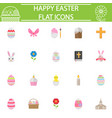 happy easter flat icon set vector image vector image