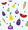happy fruits pattern vector image vector image