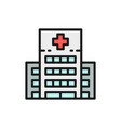 hospital clinic medical building flat color line vector image