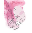line art abstract beautiful female face vector image