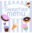 menu design for cake house bakery vector image vector image