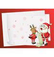 Paper sheets santa claus and reindeer vector image
