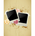 photo frame with heart and flower on a grunge back vector image vector image