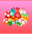 pink christmas presents concept vector image vector image