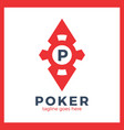 poker casino logo - red rhomb vector image