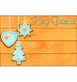 postcard with cakes on Christmas wooden against vector image