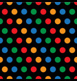 rainbow polka dots on black background vector image