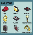 rap color outline isometric icons vector image