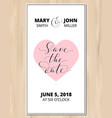 save the date card with heart on wood vector image vector image
