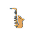 saxophone wind instrument melody sound music line vector image