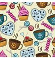 seamless pattern with sweets and cups vector image vector image