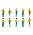 set of with farmer characters vector image