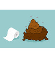 Shit and roll of toilet paper Brown turd and paper vector image vector image