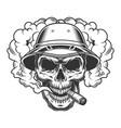 skull in smoke cloud vector image vector image