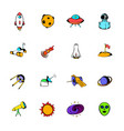 space icons set cartoon vector image vector image