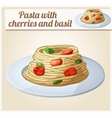 spaghetti with tomato cherries and meatballs vector image vector image