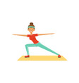 sportive young woman character lunging girl vector image