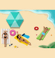 sunbathing people on beach vector image