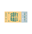 template softball ticket vector image vector image