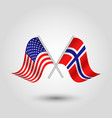 two crossed american and norwegian flags vector image vector image