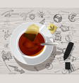 white cup with tea bag and hand drawn business vector image vector image