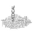 a word about child medical insurance text word vector image vector image