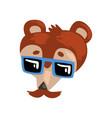 bear wearing sunglasses animal portrait cartoon vector image vector image