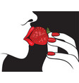 beautiful woman with red lips eating strawberry vector image