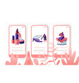 beauty salon mobile app page onboard screen set vector image vector image
