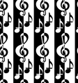 Black and white alternating G clef and music notes vector image vector image