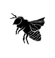 black silhouette of honey bee vector image