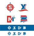 Blue red alphabet letter icon logo set vector image vector image