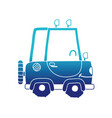 blue silhouette kawaii smile tractor vehicle vector image