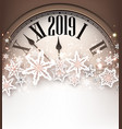 brown 2019 new year background with clock vector image vector image