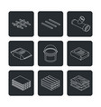 building and contruction materials icons set vector image vector image