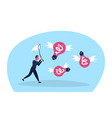 businessman holding butterfly net catch light vector image vector image