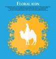 Camel icon Floral flat design on a blue abstract vector image