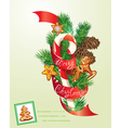 Card with xmas gingerbread candy and fir-tree bran vector image vector image