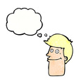 cartoon smiling man with thought bubble vector image vector image
